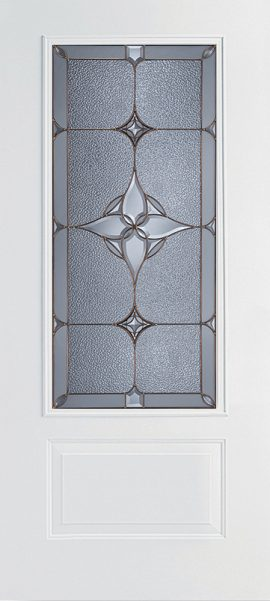 White 1 Panel 3/4 Lite door with Astrid glass