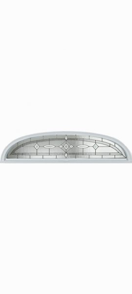 Smooth White Ellipse Transom with Aurora glass