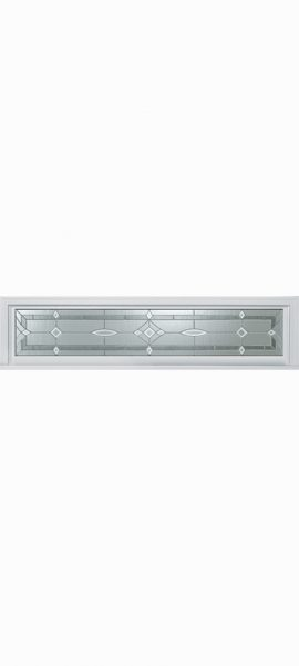 Smooth White Rectangle Transom with Aurora glass