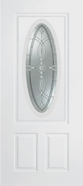 Smooth White 2 Panel 3/4 Lite Oval Elite with Aurora glass