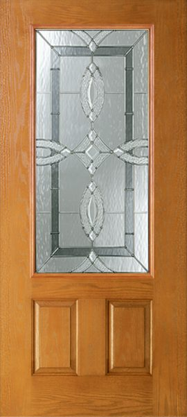 Oak Grain 2 Panel 3/4 Lite with Aurora glass