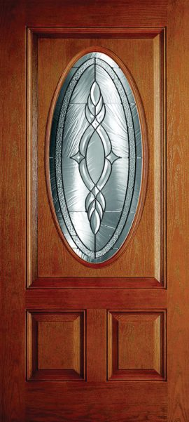 Oak Grain 2 Panel 3/4 Oval Elite with Brentwood glass