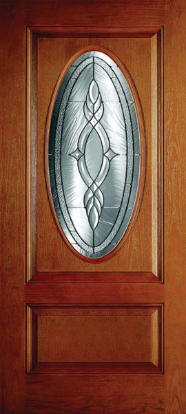 Oak Grain 1 Panel 3/4 Lite Oval Elite with Brentwood glass