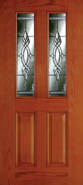 Oak Grain 2 Panel Twin 1/2 Lite with Brentwood glass