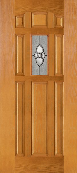 Oak Grain 8 Panel Center Lite with Dynasty glass