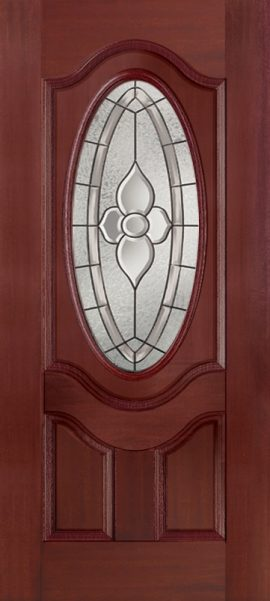 Mahogany 2 Panel 3/4 Lite Oval Deluxe with Dynasty glass