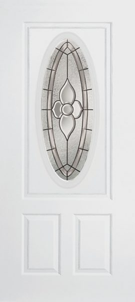 Smooth White 2 Panel 3/4 Lite Oval Elite with Dynasty glass