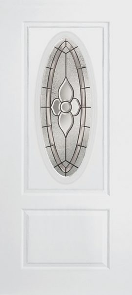 Smooth White 1 Panel 3/4 Lite Oval Elite with Dynasty glass