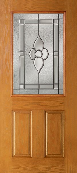 Oak Grain 2 Panel 1/2 Lite with Dynasty glass