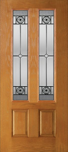 Oak Grain 2 Panel Twin 3/4 Lite with Elan glass