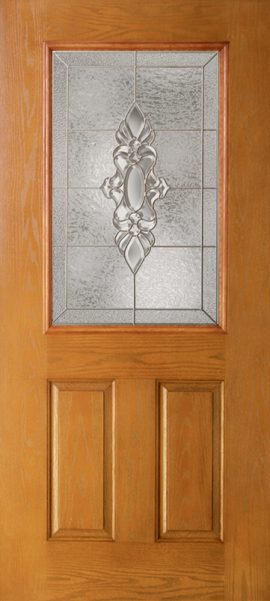 Oak Grain 2 Panel 1/2 Lite with Heirlooms glass