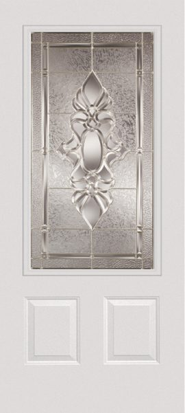 Smooth White 2 Panel 3/4 Lite with Heirlooms glass