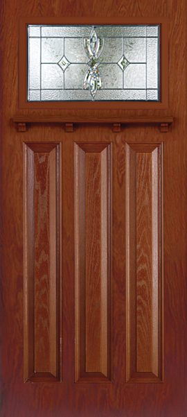Mahogany 3 Panel Craftsman with Laurel glass