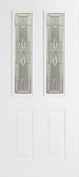Smooth White 2 Panel Twin 1/2 Lite with Laurel glass