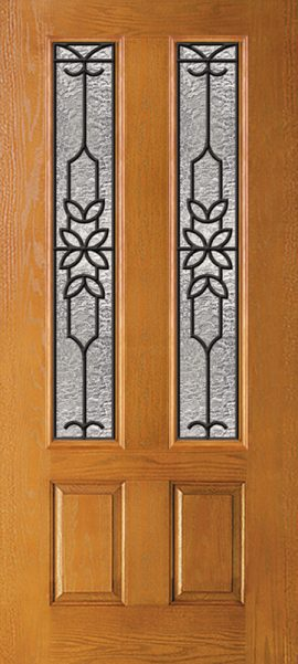 Oak Grain 2 Panel Twin 3/4 Lite with Mediterranean glass