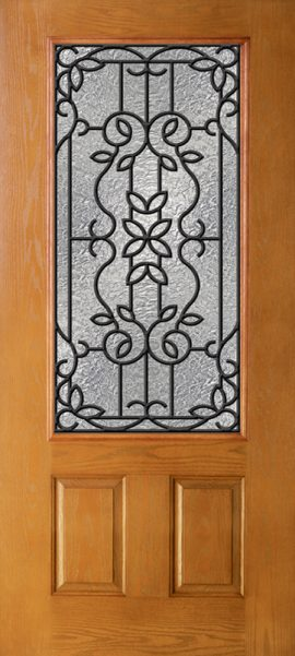 Oak Grain 2 Panel 3/4 Lite with Mediterranean glass