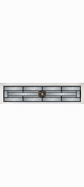 Smooth White Rectangle Transom with Mission Ridge glass