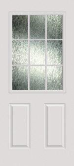 Smooth White 2 Panel 1/2 Lite 9L with Rain glass