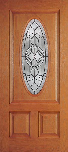 Oak Grain 2 Panel 3/4 Lite Oval Elite with Renfield glass