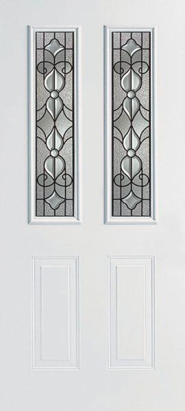 Smooth White 2 Panel Twin 1/2 Lite with Renfield glass