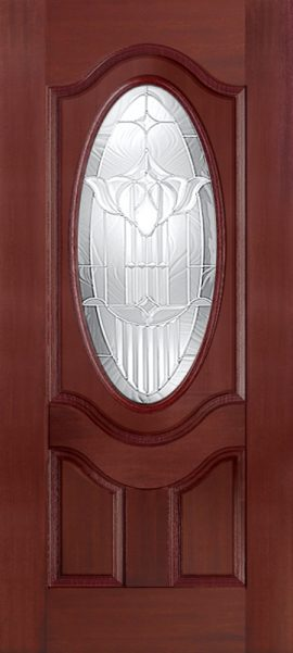 Mahogany 2 Panel 3/4 Lite Oval Deluxe with Royal Fountain glass