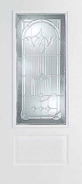 Smooth White 1 Panel 3/4 Lite with Royal Fountain glass