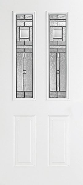 Smooth White 2 Panel Twin 1/2 Lite with Vintage Craftsman glass