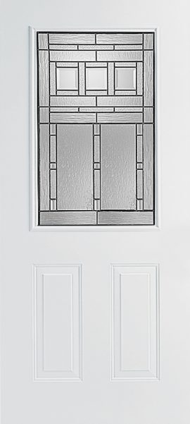 Smooth White 2 Panel 1/2 Lite with Vintage Craftsman glass