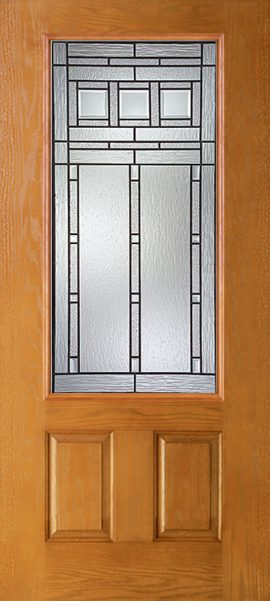 Oak Grain 2 Panel 3/4 Lite with Vintage Craftsman glass