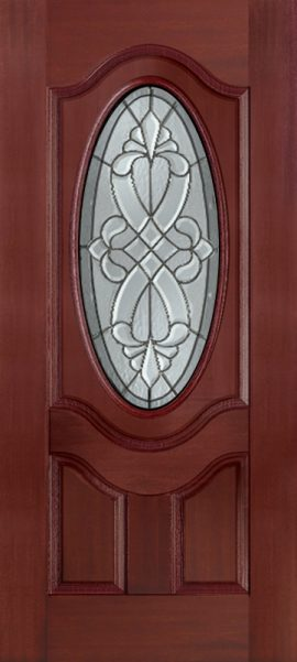Mahogany 2 Panel 3/4 Lite Oval Deluxe with Windsor glass