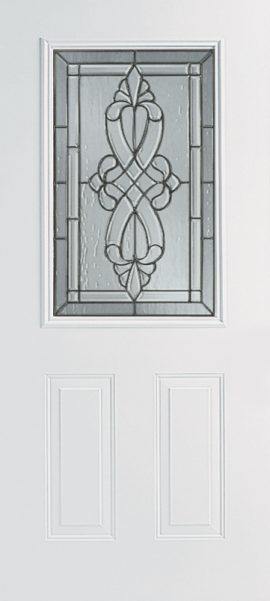 Smooth White 2 Panel 1/2 Lite with Windsor glass