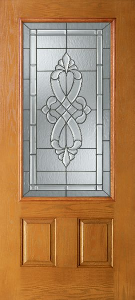 Oak Grain 2 Panel 3/4 Lite with Windsor glass