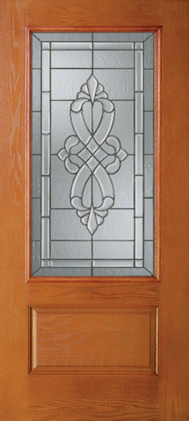 Oak Grain 1 Panel 3/4 Lite with Windsor glass