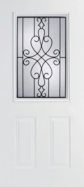 Smooth White 2 Panel 1/2 Lite with Wyngate glass