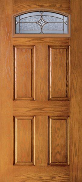 Oak Grain 4 Panel Camber Top door with Astrid glass