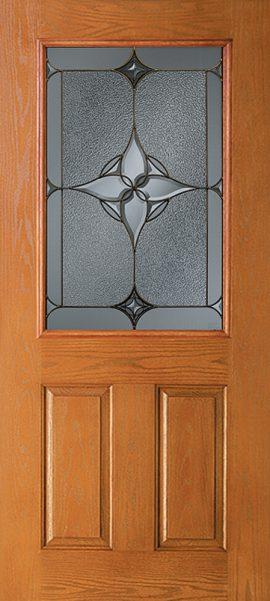 Oak Grain 2 Panel 1/2 Lite door with Astrid glass
