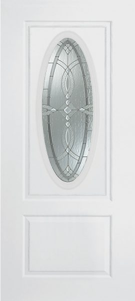 Smooth White 1 Panel 3/4 Oval Elite with Aurora glass
