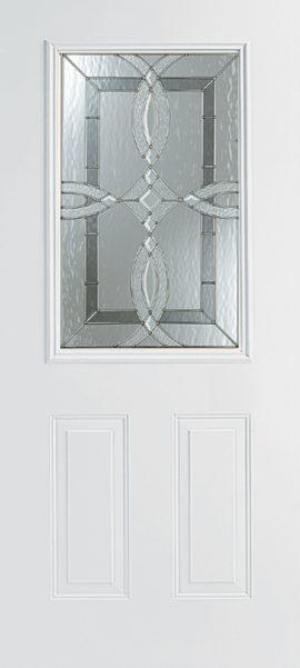 Smooth White 2 Panel 1/2 Lite with Aurora glass