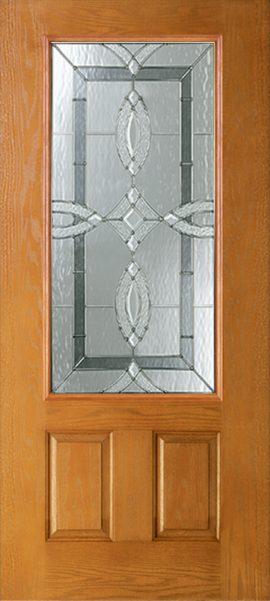 Oak Grain 2 Panel 3/4 Lite with Aurora glass