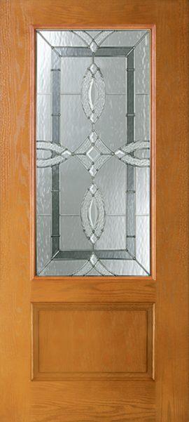 Oak Grain 1 Panel 3/4 Lite with Aurora glass