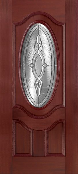 Mahogany 2 Panel 3/4 Oval Deluxe with Brentwood glass