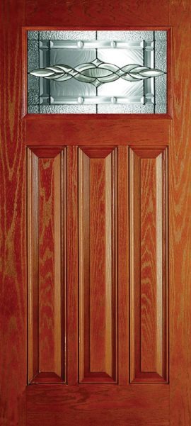 Oak Grain 3 Panel Craftsman with Brentwood glass