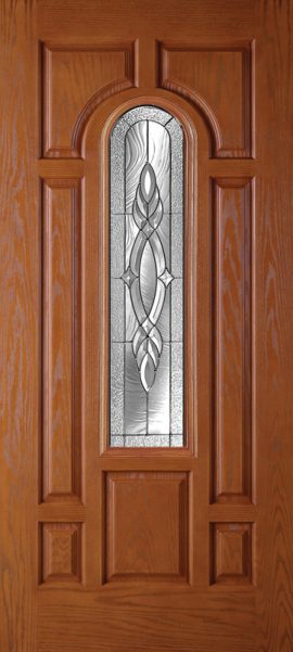 Oak Grain 7 Panel Center Arch with Brentwood glass