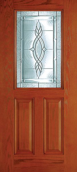 Oak Grain 2 Panel 1/2 Lite with Brentwood glass