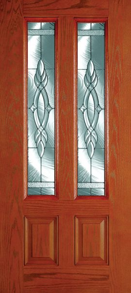 Oak Grain 2 Panel Twin 3/4 Lite with Brentwood glass