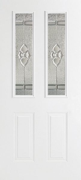 Smooth White 2 Panel Twin 1/2 Lite with Dynasty glass