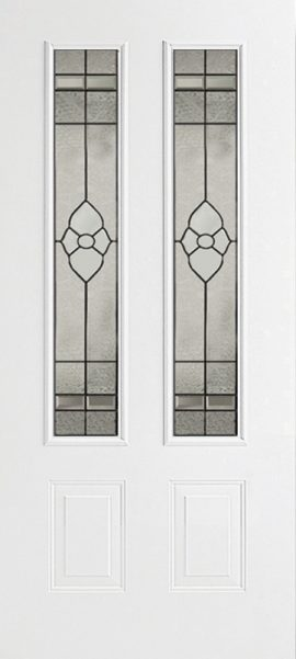 Smooth White 2 Panel Twin 3/4 Lite with Dynasty glass