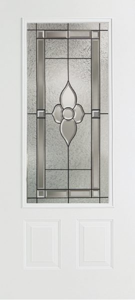 Smooth White 2 Panel 3/4 Lite with Dynasty glass