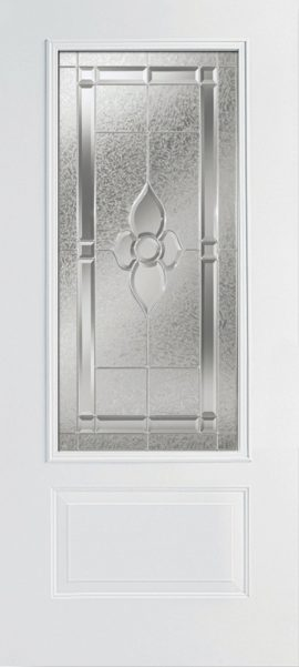 Smooth White 1 Panel 3/4 Lite with Dynasty glass