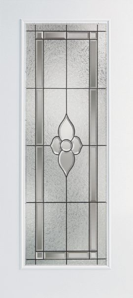 Smooth White Full Lite door with Dynasty glass